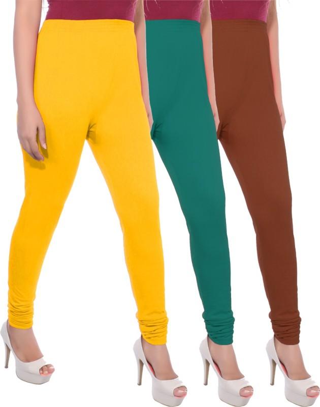 Apple Knitt Wear Women's Maternity Wear Yellow, Green, Brown Leggings(Pack of 3)