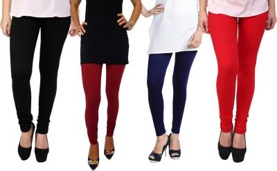 Escocer Women's Black, Maroon, Blue, Red Leggings