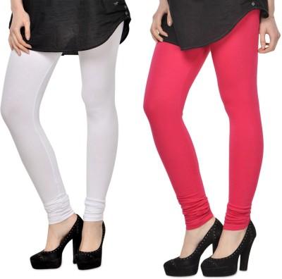 SareeGalaxy Women's White, Pink Leggings