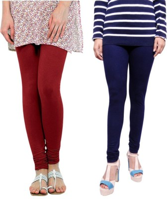 Tanunni Women's Maroon, Dark Blue Leggings