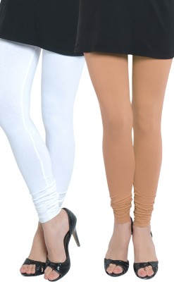Tulsattva Women's Beige, White Leggings