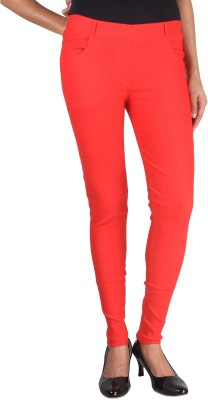 melange fashions Women's Red Jeggings