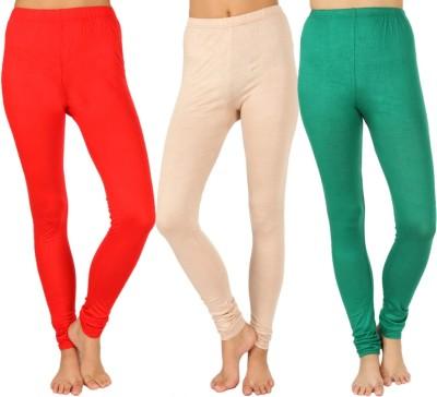 SLS Women's Red, Beige, Green Leggings