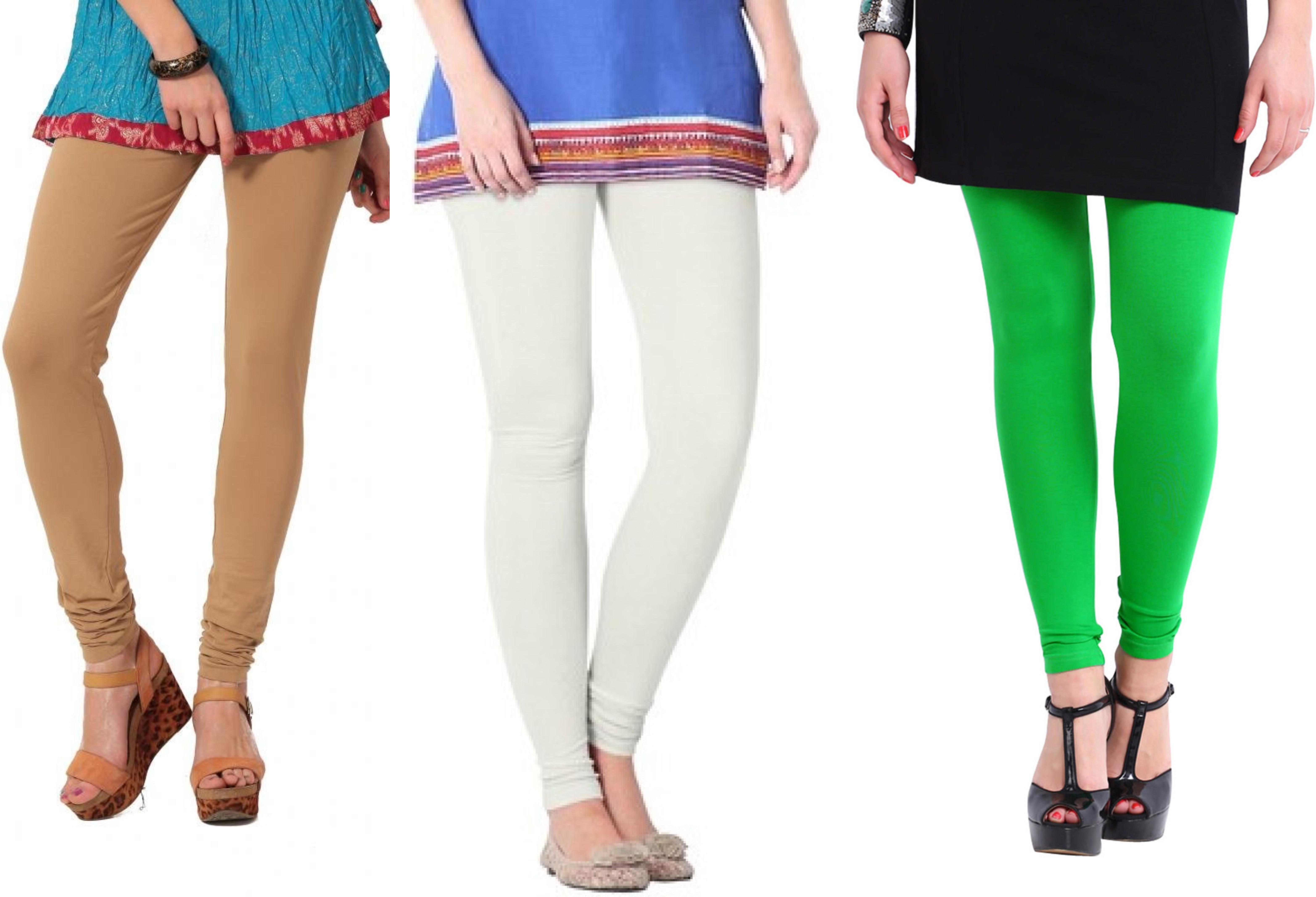 Angel Soft Womens Beige, White, Green Leggings(Pack of 3)