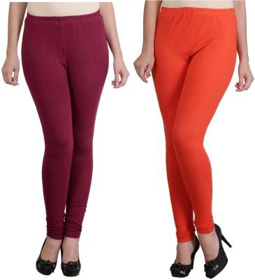 Ahhaaaa Women's Maroon, Orange Leggings