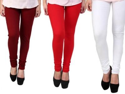 Dharamanjali Women's Maroon, Red, White Leggings