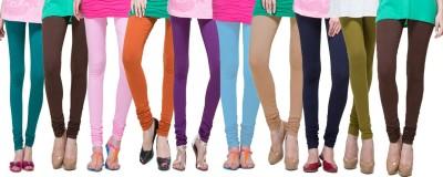Apsn Retail Women's Dark Green, Brown, Pink, Orange, Purple, Light Blue, Beige, Dark Blue, Light Green, Brown Leggings