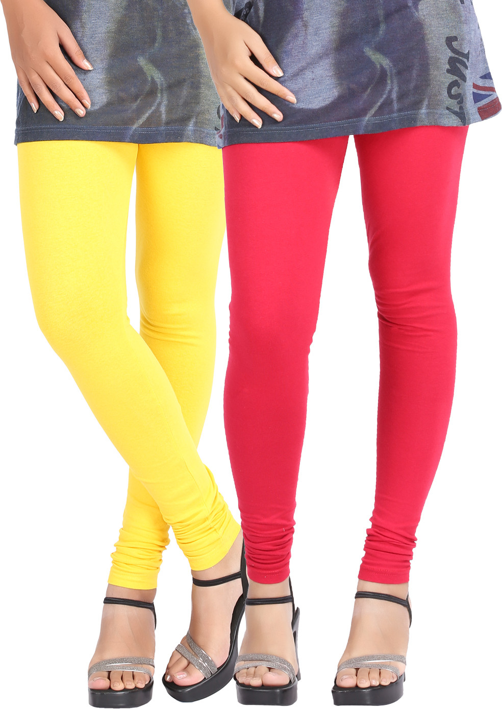 Be-Style Womens Yellow, Red Leggings(Pack of 2)