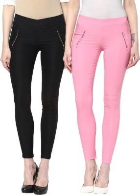 Zea-Al Women's Black, Pink Jeggings