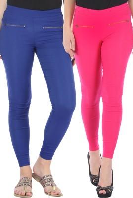 Bitterlime Women's Pink, Blue Jeggings