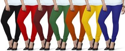 Lux Lyra Women's Black, Red, Maroon, Dark Green, Orange, Yellow, Dark Blue Leggings(Pack of 7) at flipkart