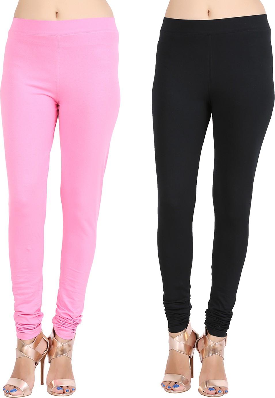Lula Ms Womens Pink, Black Leggings(Pack of 2)
