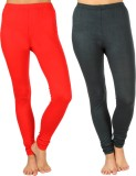 SLS Women's Red, Dark Green Leggings (Pa...