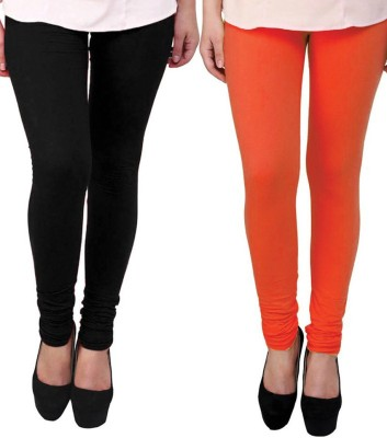 divine creations Women,s Black, Orange Leggings