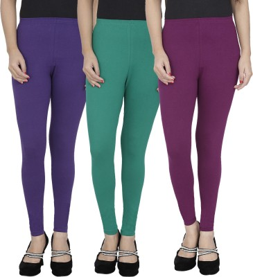 Anekaant Girl's Purple, Green, Purple Leggings