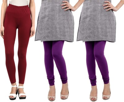 Sampoorna Collection Women's Maroon, Purple, Purple Leggings