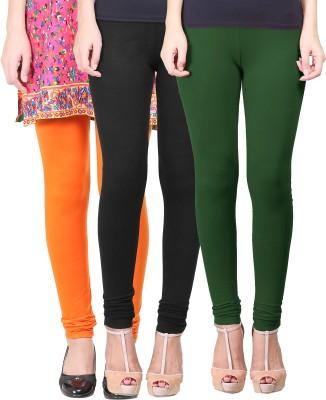 Eshelle Women's Black, Orange, Dark Green Leggings