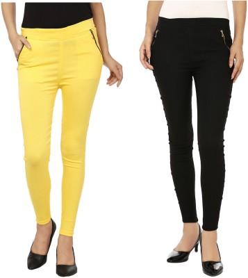 Lambency Women's Yellow, Black Jeggings