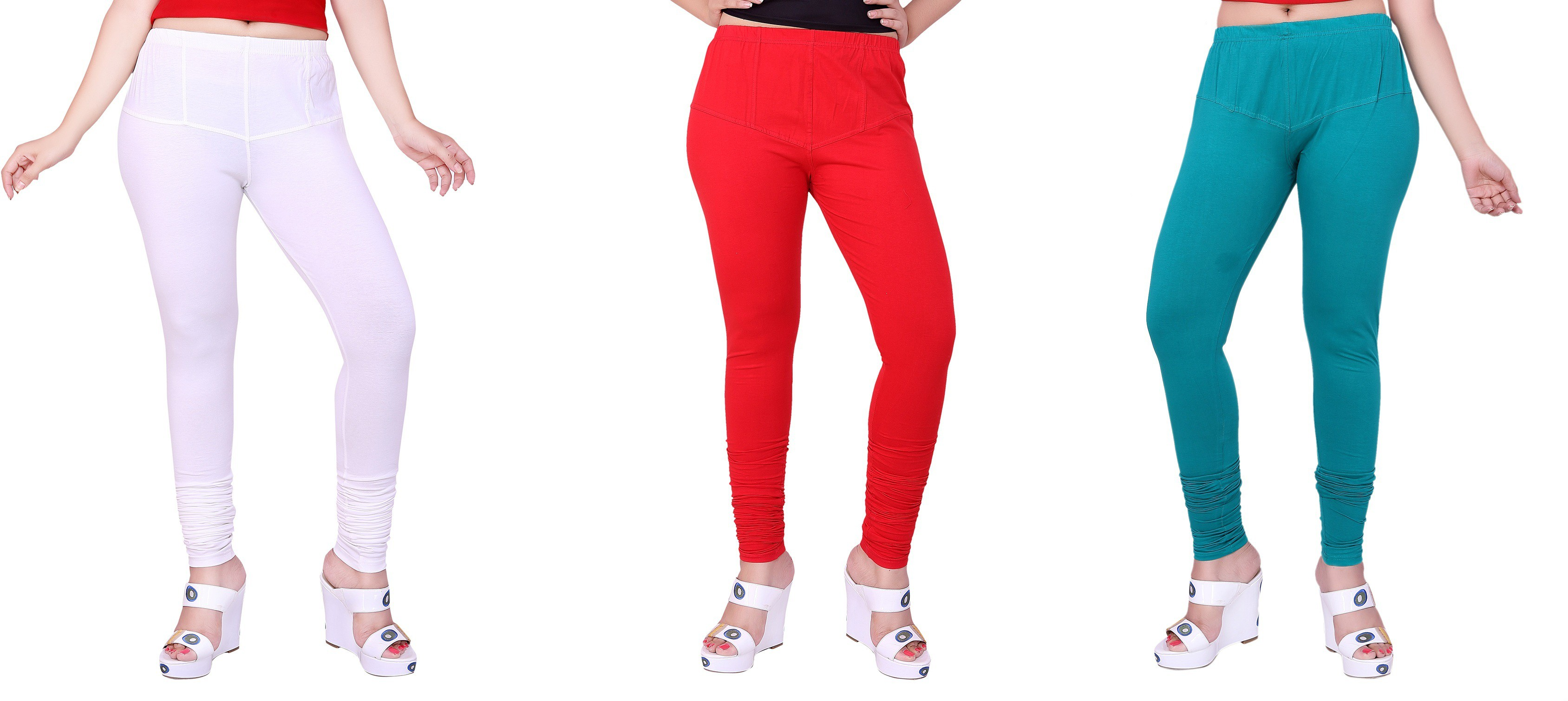 Fck3 Womens White, Red, Blue Leggings(Pack of 3)