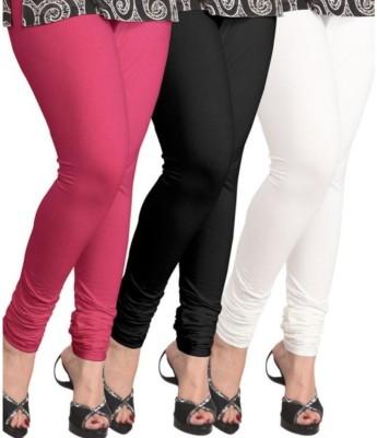 BuyNewTrend Women's Pink, Black, White Leggings(Pack of 3) at flipkart