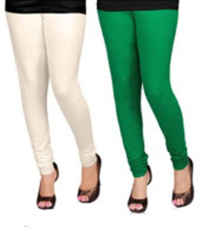 Appeal Womens White, Green Leggings(Pack of 2)