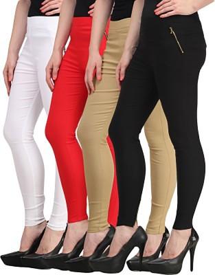 Roma Creation Women's White, Red, Beige, Black Jeggings