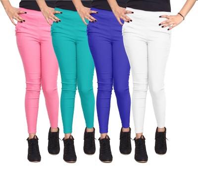 Xarans Women's Pink, Green, Blue, White Jeggings