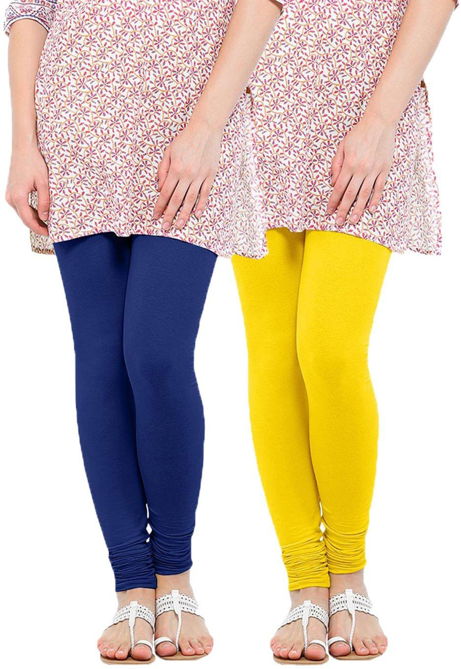 Linking Threads Womens Blue, Yellow Leggings(Pack of 2)