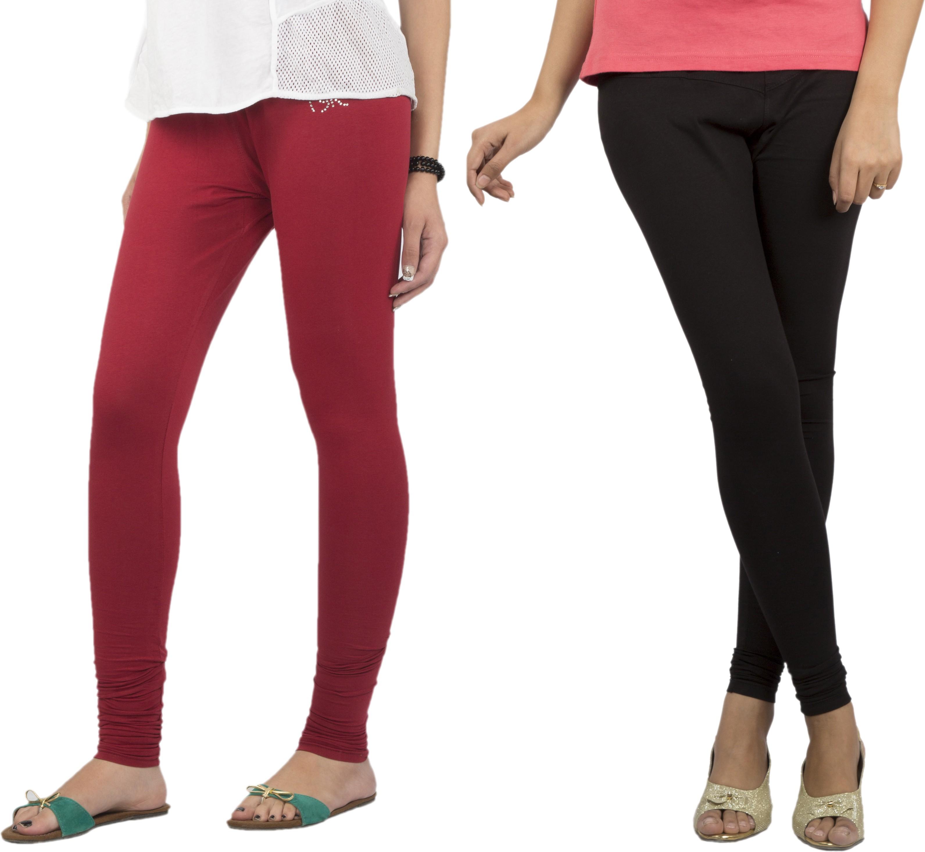 Jublee Womens Black, Maroon Leggings(Pack of 2)