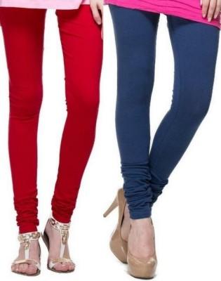 Zadine Women's Red, Dark Blue Leggings