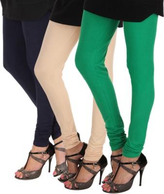 Itnol International Women's Dark Blue, Beige, Green Leggings