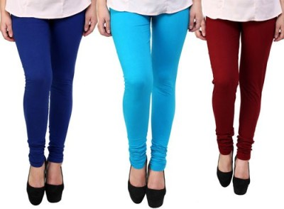 Dharamanjali Women's Blue, Maroon, Light Blue Leggings
