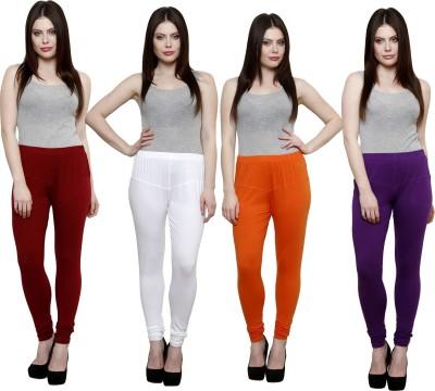 Pistaa Women's Maroon, White, Orange, Purple Leggings