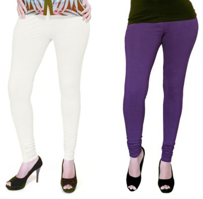Boofa Women's White, Purple Leggings