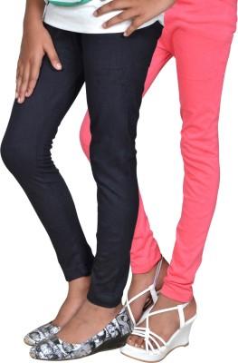 Gee & Bee Girl's Black, Pink Leggings