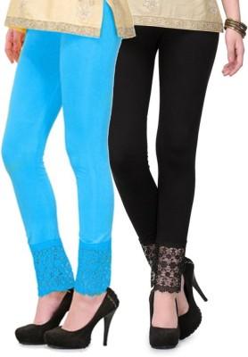 Fashion Arcade Women's Light Blue, Black Leggings
