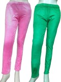 Miraaya Women's Pink, Green Jeggings (Pa...