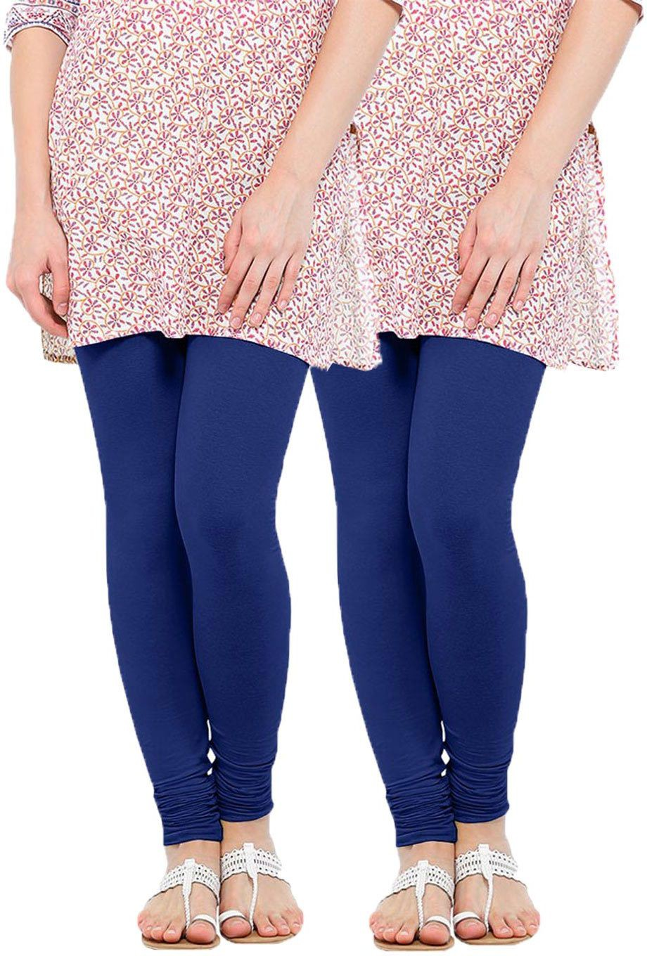 Linking Threads Womens Blue Leggings(Pack of 2)