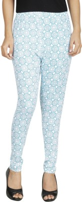 Anekaant Women's Light Blue, White Leggings