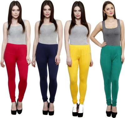 Pistaa Women's Pink, Dark Blue, Yellow, Green Leggings