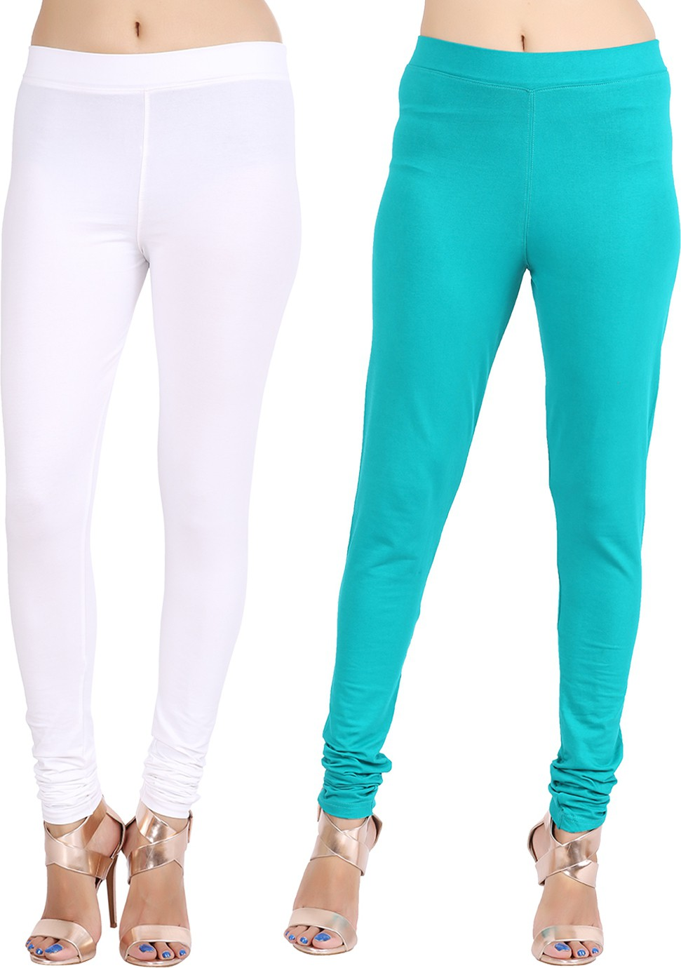 Lula Ms Womens White, Dark Green Leggings(Pack of 2)