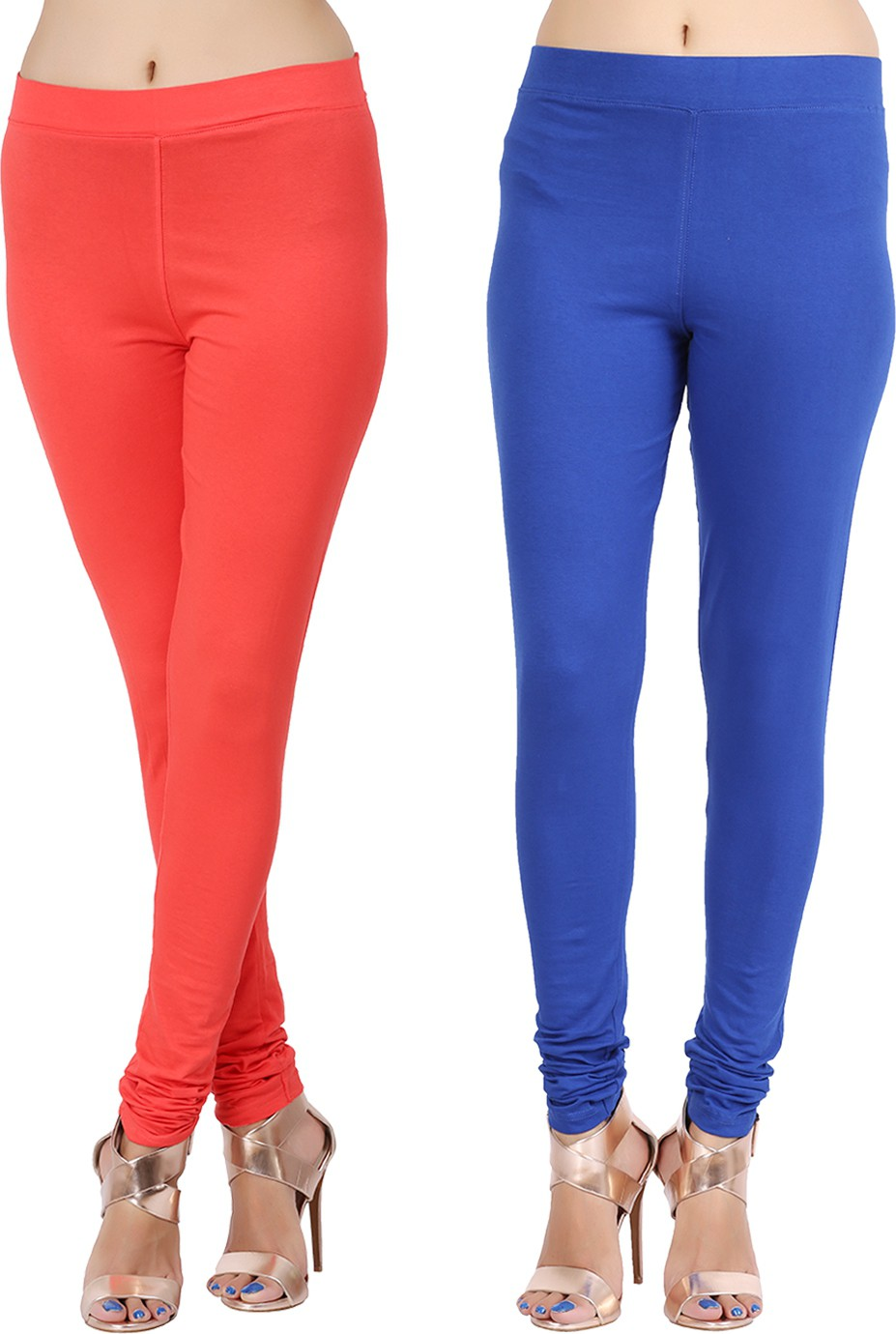 Lula Ms Womens Red, Dark Blue Leggings(Pack of 2)