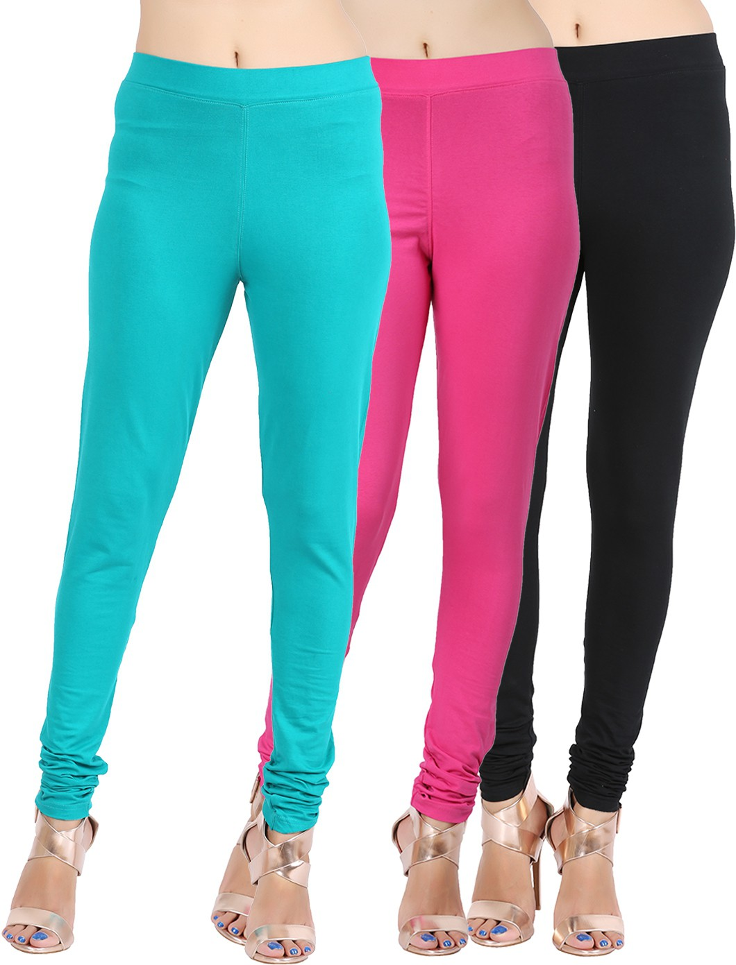 Lula Ms Womens Black, Pink, Dark Green Leggings(Pack of 3)