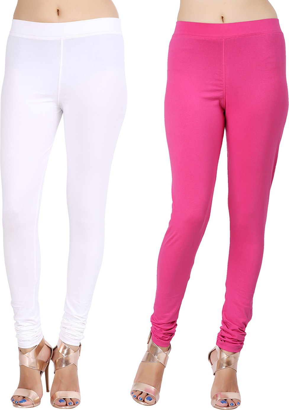 Lula Ms Womens White, Pink Leggings(Pack of 2)