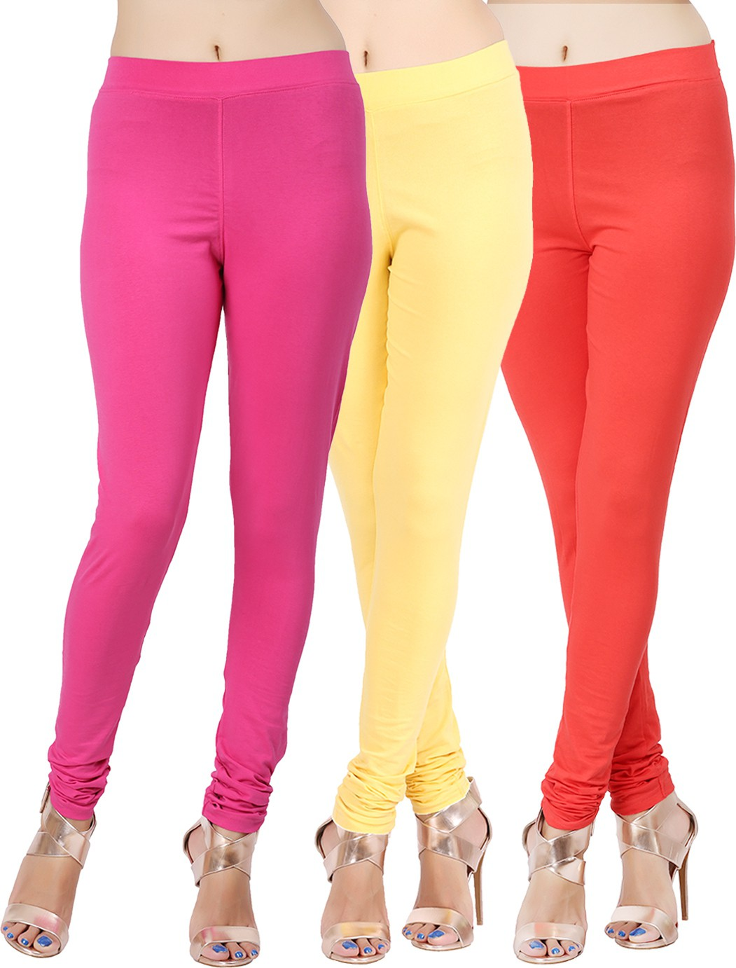Lula Ms Womens Pink, Yellow, Red Leggings(Pack of 3)