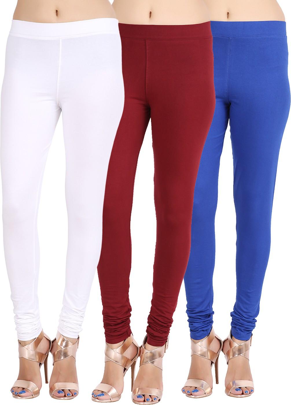 Lula Ms Womens White, Dark Blue, Brown Leggings(Pack of 3)