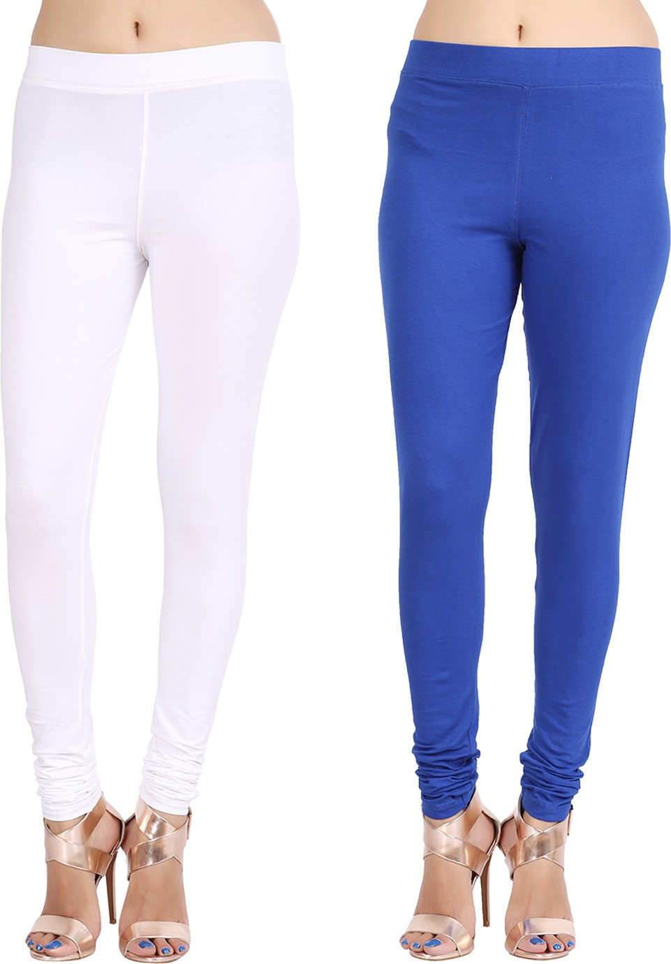 Lula Ms Womens White, Dark Blue Leggings(Pack of 2)