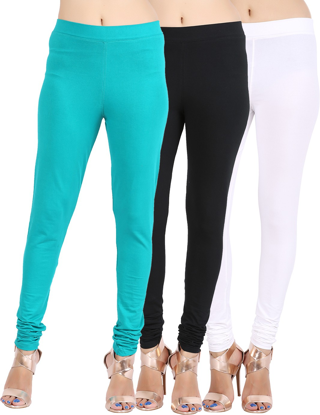 Lula Ms Womens White, Black, Dark Green Leggings(Pack of 3)