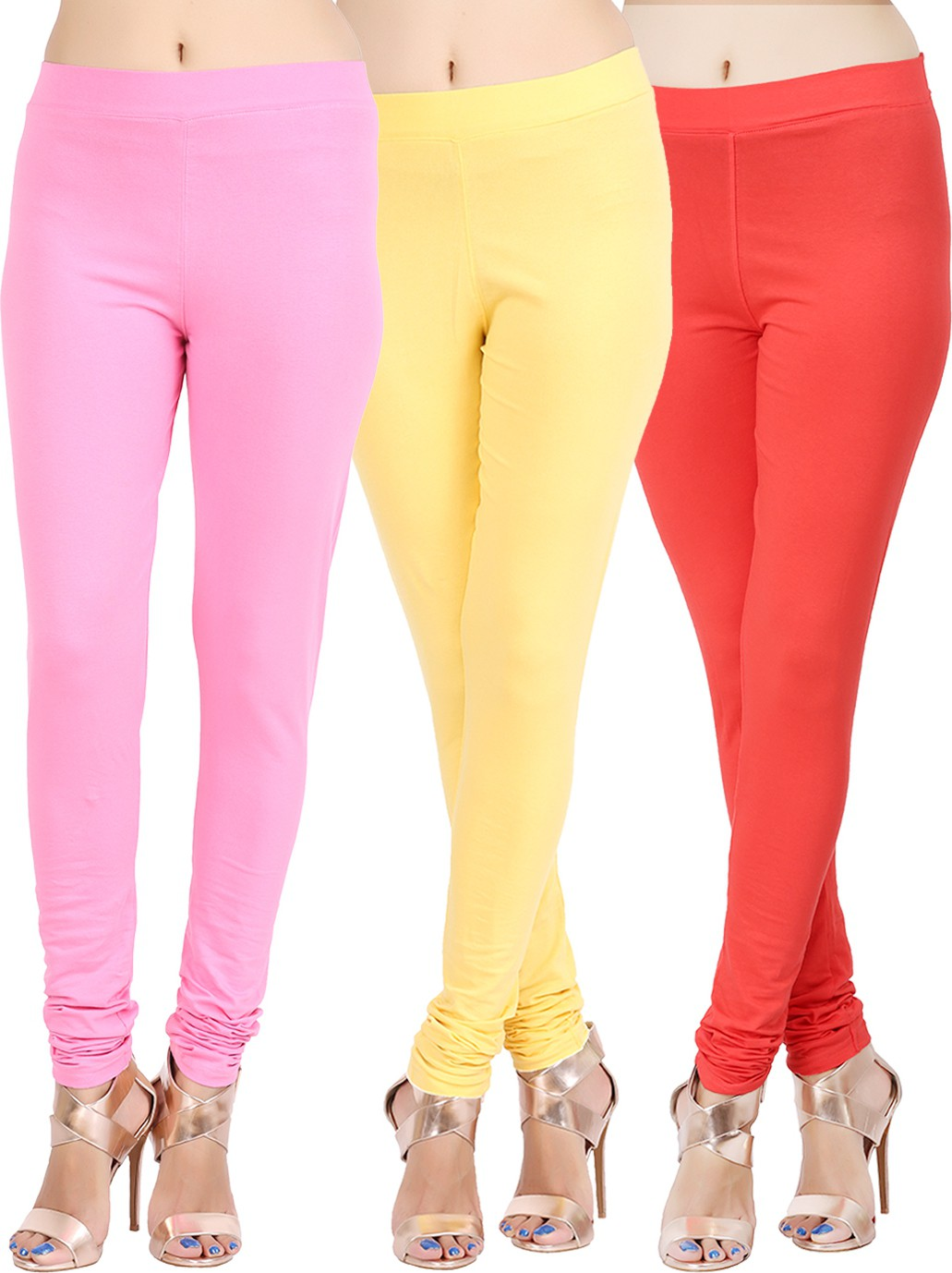 Lula Ms Womens Red, Pink, Yellow Leggings(Pack of 3)