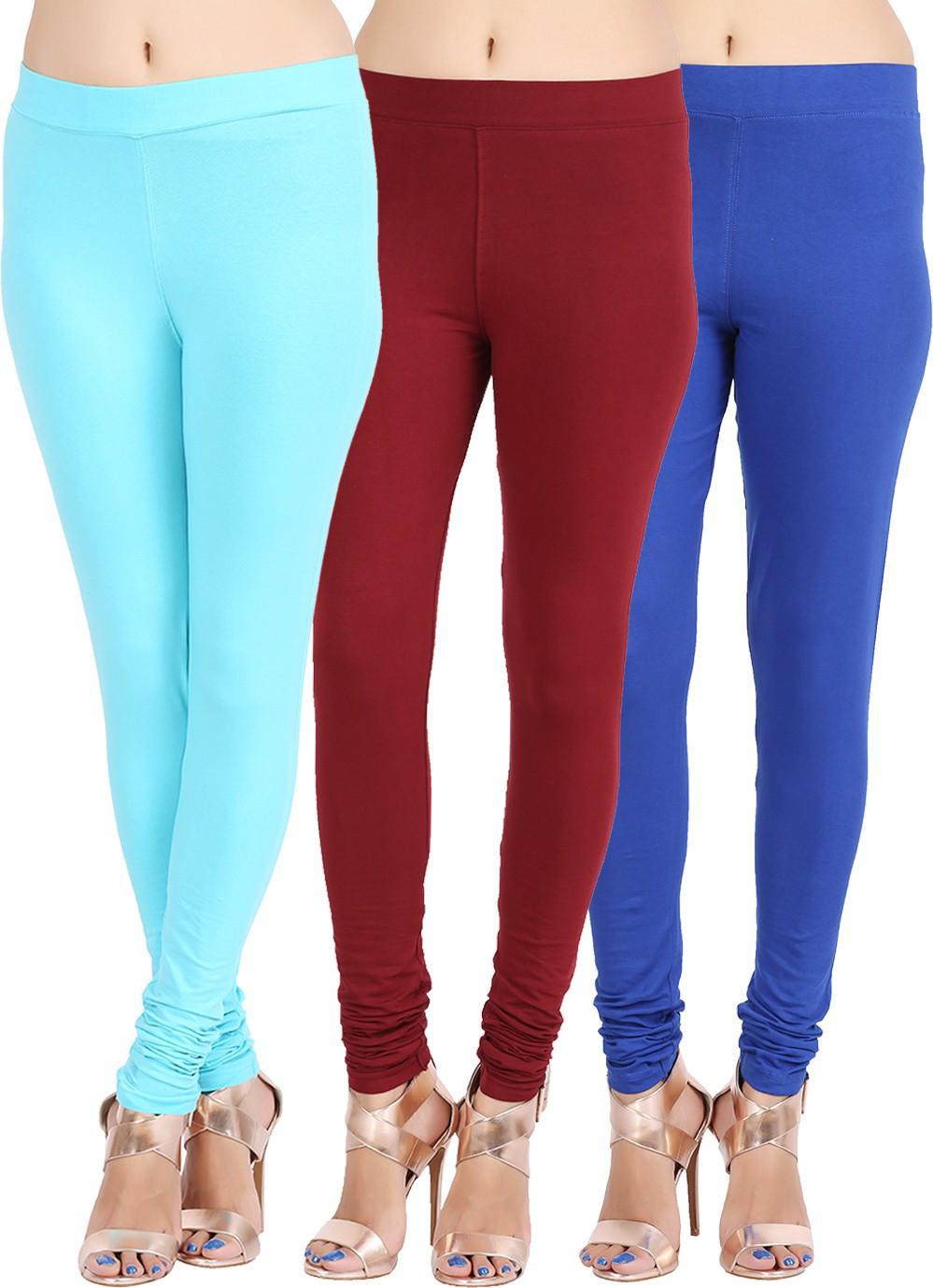 Lula Ms Womens Light Blue, Black, Dark Blue Leggings(Pack of 3)